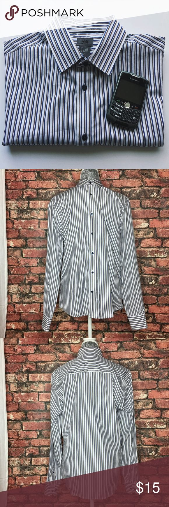 H&M 100% Cotton Button Down Shirt The perfect white, blue and brown button down shirt for work or for a causal night out with friends or a date. In excellent condition. Like new.  100% Cotton Made in Turkey  Neck 15 3/4in Length 27in Chest 21in Sleeves 26.5in H&M Shirts Dress Shirts