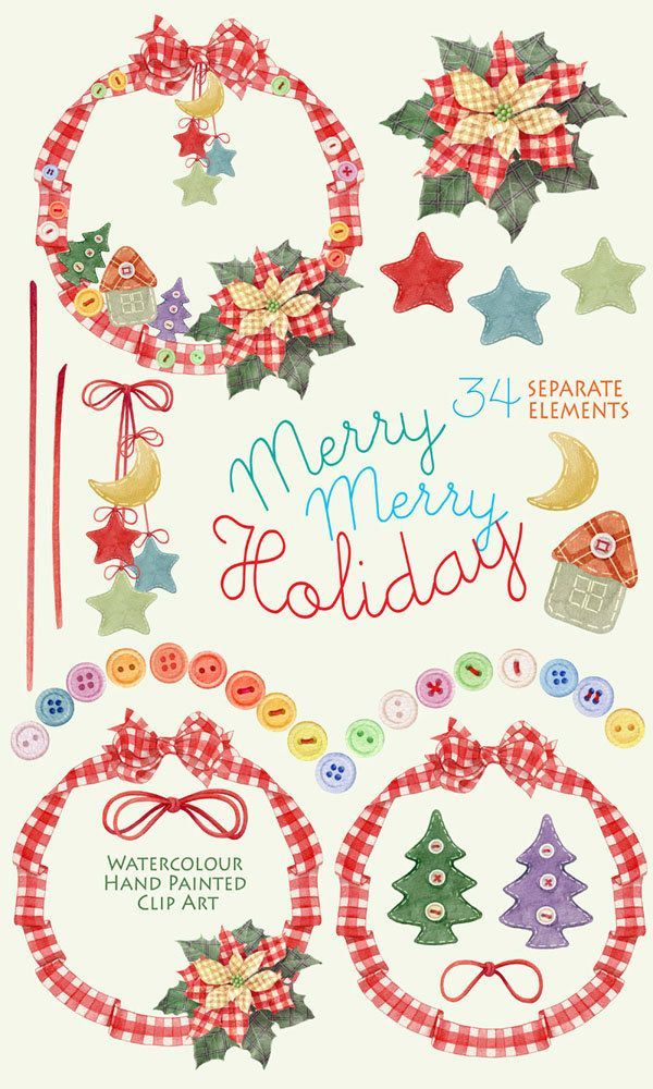 #Christmas #Watercolor #clipart Merry Merry #holiday Christmas clipart Separate elements #Greetingcard #Invitations #Scrapbooking Greeting card This set of high quality Watercolor cliparts: 34 separate elements for a Christmas decor and decorative composition from these elements. Use them for decoration of invitations, greeting cards, photos, albums and many other DIY projects. All images are 300dpi, coloured and ready to use.