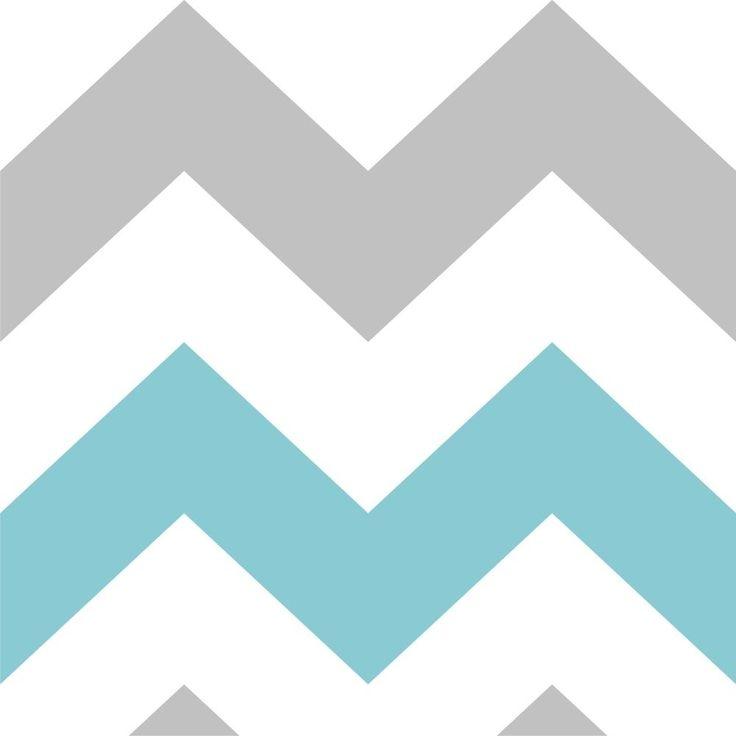Tapety Chevron Grey & White & Blue