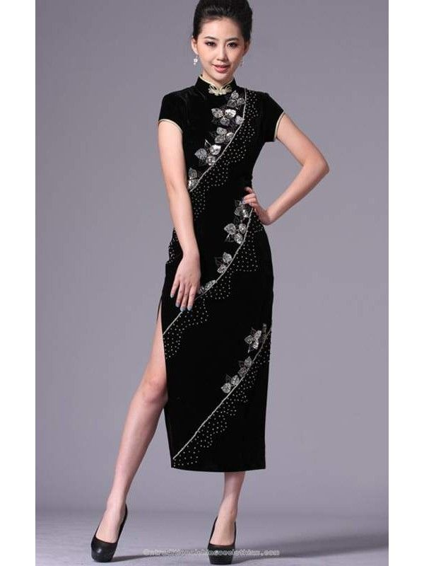 1dbfcad3f traditional chinese clothing traditional chinese dress Hand beaded floral  silk velvet cheongsam long black mandarin collar dress Qipao