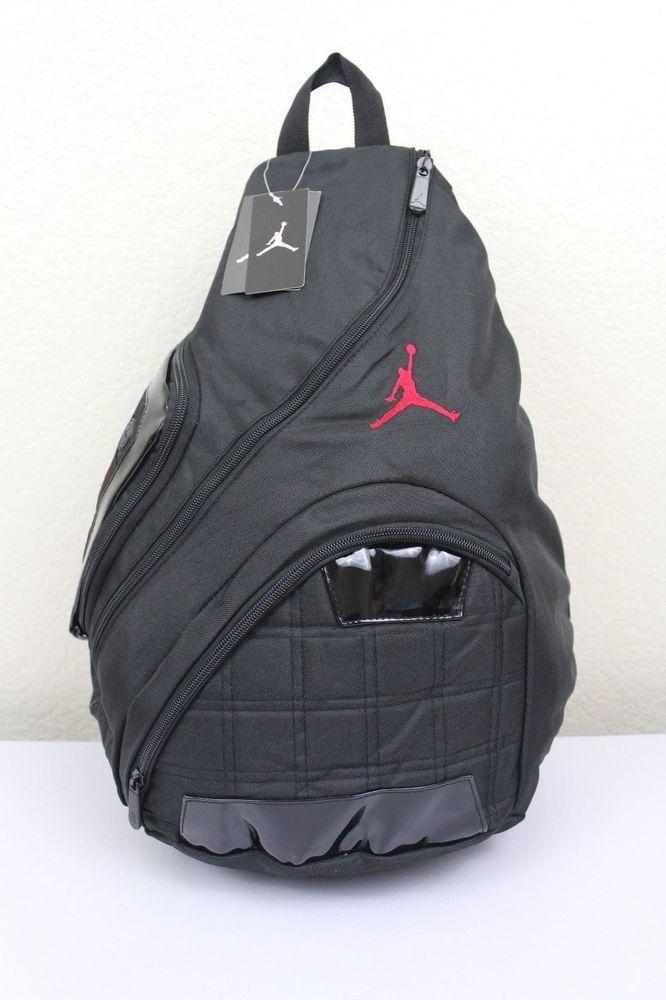... NIKE Jordan Jump Man Sling Backpack BlackRed Logo Laptop storage Audio  pocket Nikejordan ... d24a6e3ca3e4c