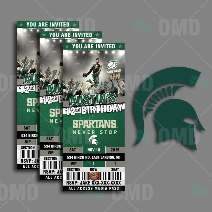 2.5x6 Michigan State Sports Party Invitation, Sports Tickets Invites, MSU Basketball Birthday Theme Party Template by sportsinvites