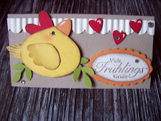 Chicken card made with punches! too cute, Mom here's one with the ornament punch.  I want to see a sample!