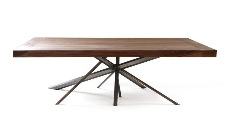 Kaos coffee table made of Walnut and hexagon shaped steel