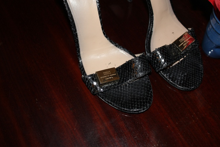 Black python extremely hight heels. Ankle lace  and golden logo http://www.elisabettafranchi.it/