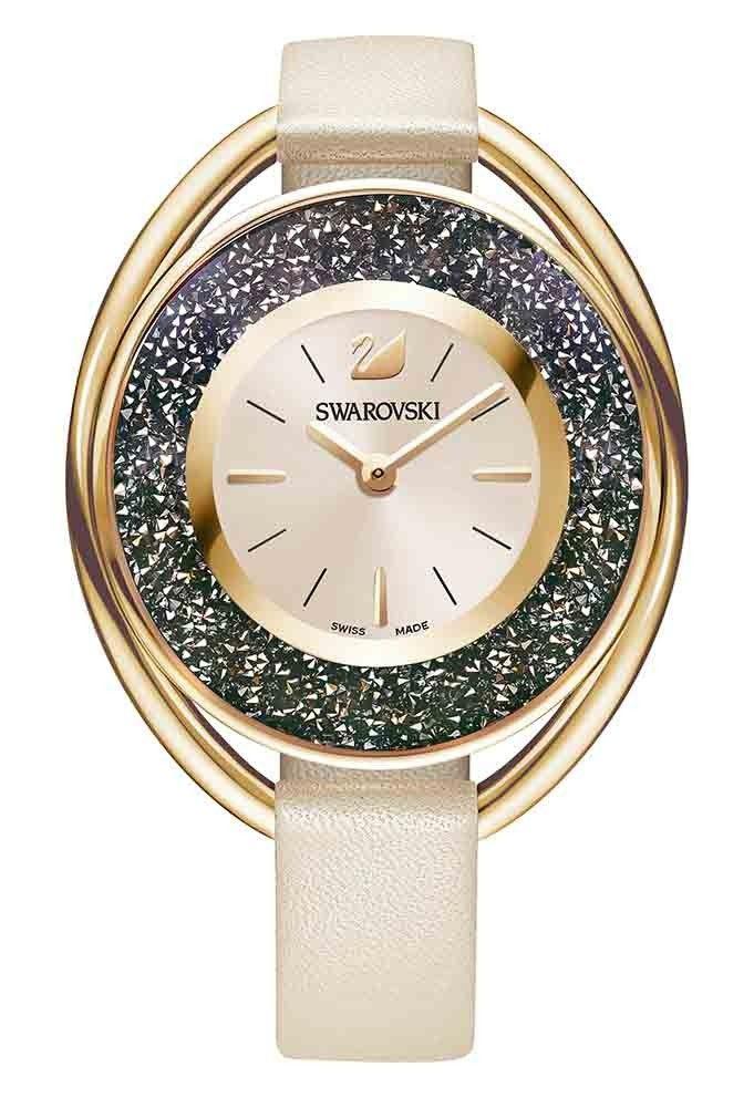 Swarovski Dameshorloge 'Crystalline Oval' Gray-Rosegold 5296319. Trendy en sprankelend Dameshorloge uit de Swarovski Crystal Collectie. Het horloge heeft een ovaalvormige rosékleurige kast met daarin donkergrijze en rosékleurige crystals. De kast is 37 mm breed en 43 mm lang. De rosékleurige wijzerplaat is voorzien van de bekende Swarovski zwaan. #rosegold #stylish #swarovski #staal #leder #swissmade #trendy #classy https://www.timefortrends.nl/horloges/swarovski.html
