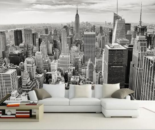 Ностальгические ретро Нью-Йорк черный и белый город ТВ фоне обоев, баров гостиницы обои nural