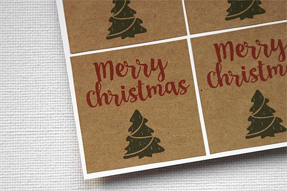 Merry Christmas Stickers - Merry Christmas Labels - Christmas Gift Stickers - Kraft Stickers - Kraft Labels - Christmas Stickers by TrocaderoKraft on Etsy