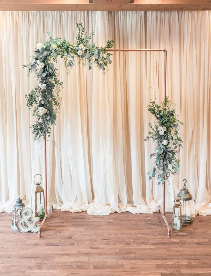 Minimalist wedding copper wedding arch arbor greenery wedding flowers eucalyptus greenery