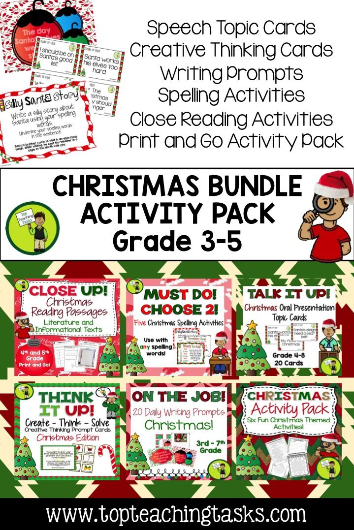 Let us save you time this Christmas Season with our Christmas Collection: a bundle of fantastic Christmas-themed ELA Resources! Reading, Writing, Spelling, Creative Thinking, and Public Speaking skills are all covered for a discounted price! Grade Three, Grade Four, Grade Five, Grade Six and Grade Seven are covered! CCSS aligned. #Christmas
