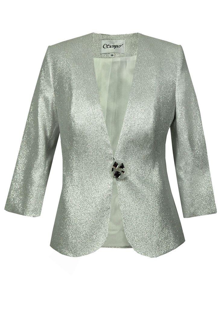Żakiet Gracja srebrzysty Semper #jacket #metallic #jacquard #silver #grey #fashion2016 #fashionbrand #occasional #clothes #wedding #elegance #elegant #evening #designer #brand