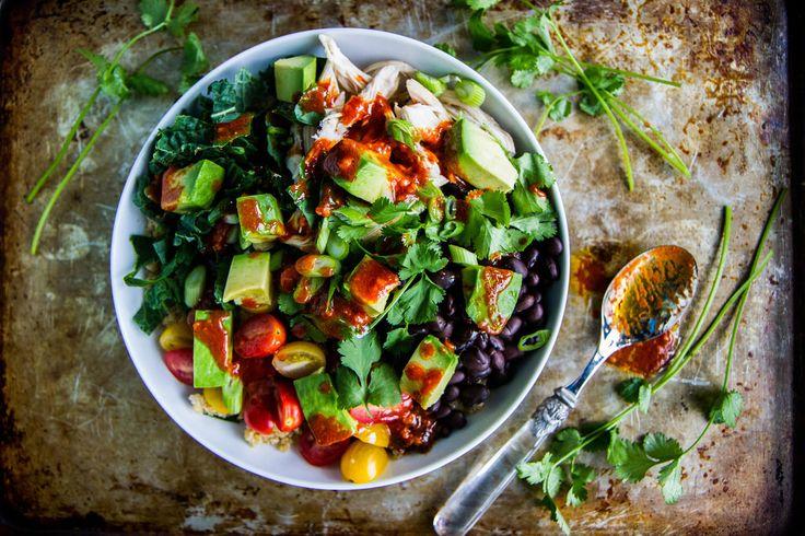 Quinoa,+Black+Bean,+Avocado,+Chicken+Bowl+with+Harissa+Vinaigrette