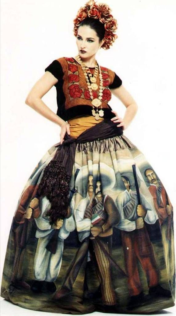 Beautiful mexican high-fashion dress!! - - I like these and the appeal of Mexican art, color & design - www.mainlymexican... #Mexico #Mexican #jewelry #celebrity #fashion #style #textile