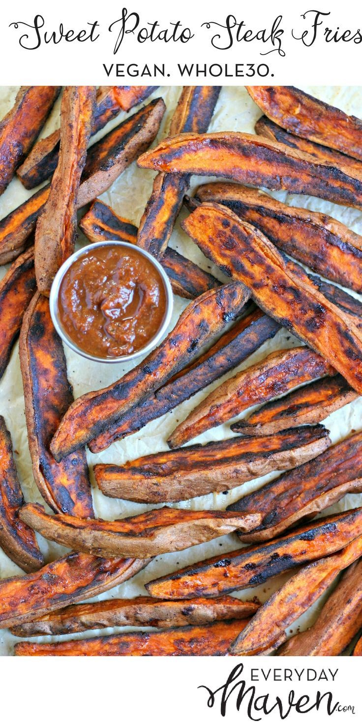 These Sweet Potato Steak Fries are the perfect side dish for just about any meal. Make a big batch and you can reheat to crisp them back up! via @EverydayMaven