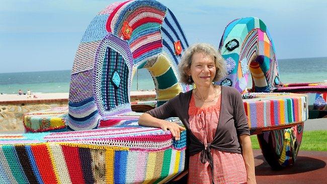 Yarn bombing in Radelaide - Stitch For Summer at Glenelg by Artist Irmina van Niele