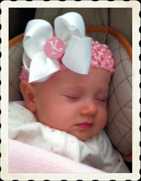 Everyday Hair Bow Monogram Center White And Baby Pink Perfect