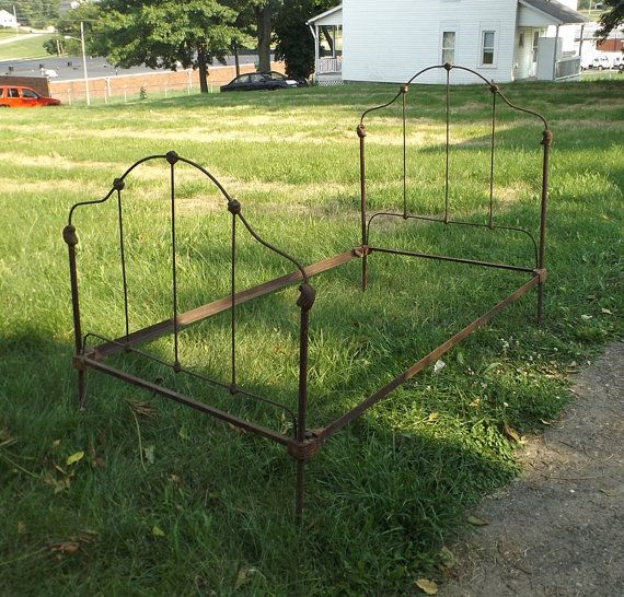 vintage 1900s cast iron bed frame 34 full size metal bedroom furniture old antique rail decorative home decor rustic victorian shabby chic - Antique Iron Bed Frame