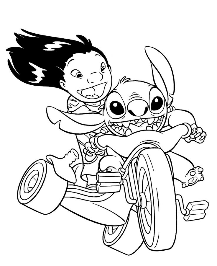 Lilo and Stitch on bike coloring pages for kids, printable