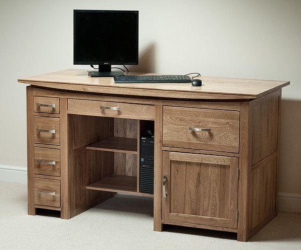 Tokyo Natural Solid Oak Large Computer Desk   Office Furniture