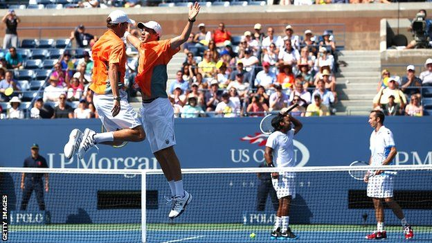 Bob and Mike Bryan celebrate victory over Leander Paes and Radek Stepanek. US Open: Bob & Mike Bryan win record-equalling 12th Grand Slam title.