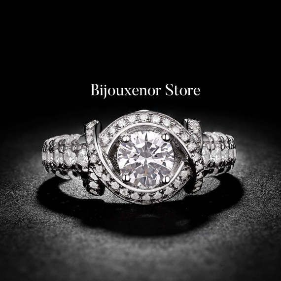 soleste diamond white gold engagement ring cushion cut 14K White Gold Engagement Ring Unique Design