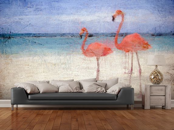Flamingo Natural Wall Mural Room Setting