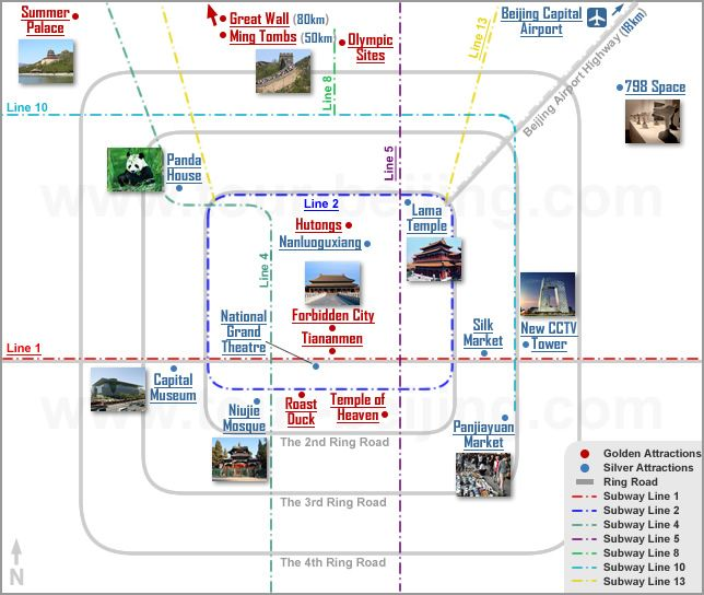 Beijing Top 10 and Travel Map