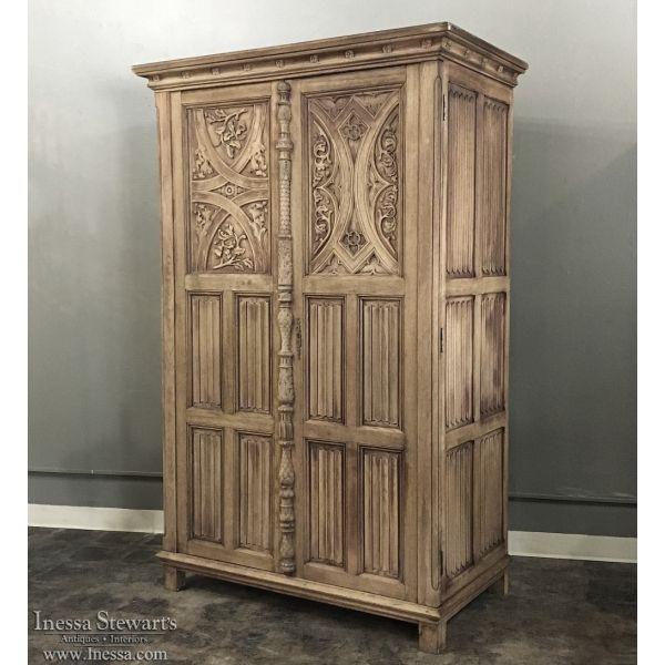 Antique Furniture | Antique Armoires | Renaissance/Gothic Armoires | Antique  Gothic Solid Washed Oak