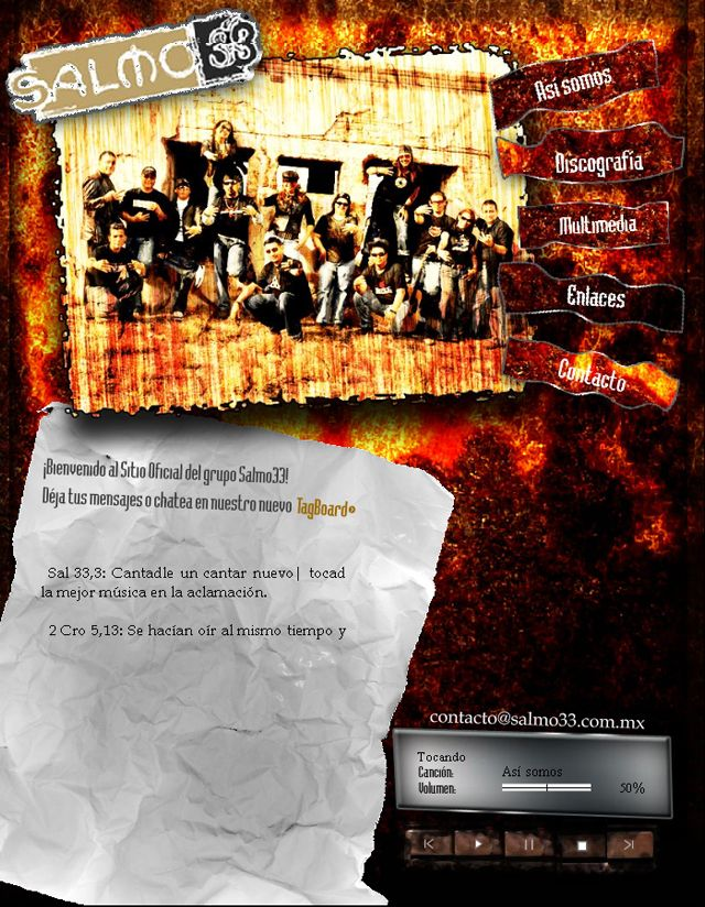 Página de inicio para grupo musical cristiano, con reproductor de Audio, marquesina de citas bíblicas y Chat. Diseñado aprox. el 2008.  Inicio: http://janikmac.com/portafolio/salmo33-inicio/