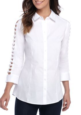 Sharagano Women's Cutout Shirt - White - Xl