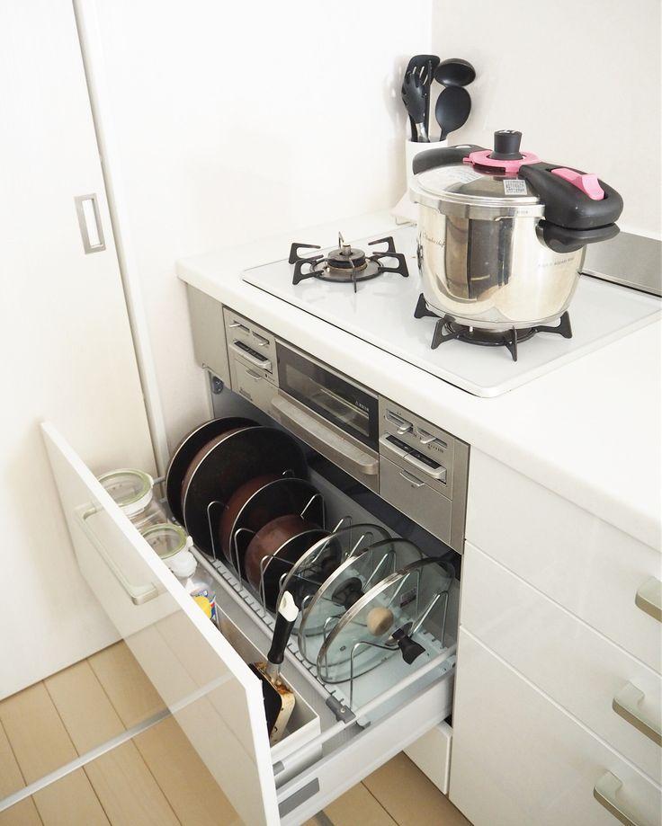 キッチン収納のお悩み解決 シンク下 コンロ下 の深い引き出し収納術 Folk キッチン 収納 シンク下 100均 システムキッチン 収納 引き出し キッチン 収納 シンク下