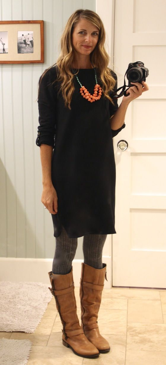 Black shirt dress with gray sweater tights, cognac boots and statement necklace - great for casual or weekend style.