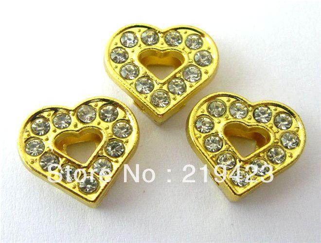 Сердце сезон! Оптовая 100 шт. 8 мм Золотое сердце Слайд Подвески DIY подвески