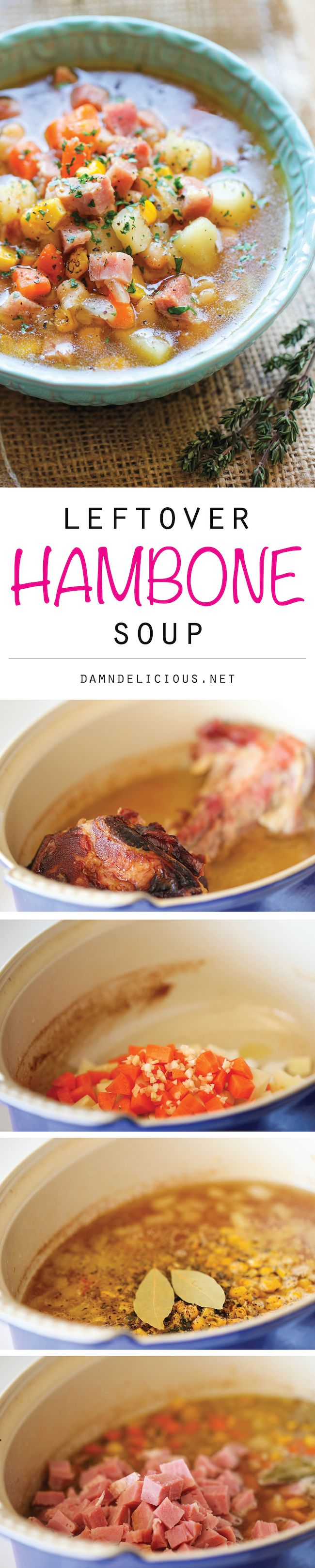 Leftover Ham Bone Soup - Use up your leftover ham bone to make this cozy, hearty soup loaded with tons of veggies and chunks of sweet ham!