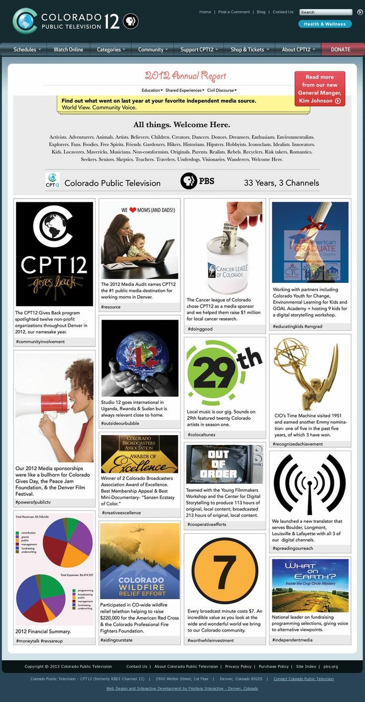 CPT12's 2012 Annual Report, done Pinterest style.