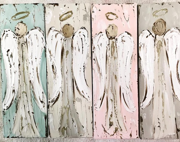 Angels in the works! Coming soon! Y'all, these are beautiful. I LOOoooVe them #angelpainting #angelart #angel #rusticart #haleybushart #haleybdesigns #farmhousestyle #heavenly #favorite