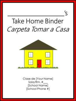 Thanks so much for your business! This **editable** product is in ENGLISH AND SPANISH and contains the following: --Take Home Binder cover sheet --Take Home Binder guidelines/contract to be signed by your students and their parents/guardians on the first day of school --Labels to print out and affix to each folder