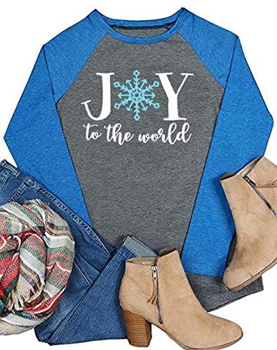 5ab0738e5 New Women's Joy to The World Tshirt Be Joyful Christmas Snowflakes Holiday Raglan  Long Sleeve Tops Blouse Christmas Clothing. [$8.99 - 17.89] topoffergoods  ...