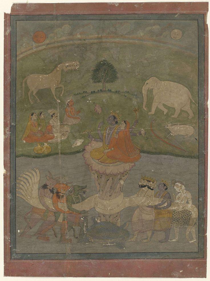 Anonymous | Karnen van oceaan, Anonymous, 1830 | In het midden van een stromend water zitten Vishna en Lakhsmi op een lotusbloem; op de voorgrond in het midden een reuzenschildpad; mannen met dierenkoppen en andere met kronen houden een negenkoppige slang om de lotusbloemsteel gewikkeld; in de wei op de achtergrond een paar figuren en dieren, waaronder een meerkoppig paard; aan de hemel de zon en de maan. De voorstelling wordt omlijst door een smalle rand in groengrijs en een rand die boven…