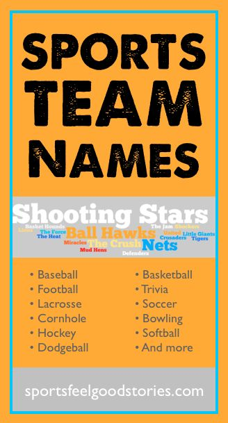 Good sports team names for baseball, football, lacrosse, basketball, soccer, softball and hockey. Also, team names for cornhole, dodgeball, trivia night competitions and bowling.  Great for sports team names ideas, funny names, finding an awesome name, coaches, team parents, etsy, and more.
