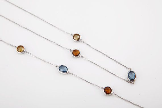 #Necklace with coloured zircons rhodium plate gold by KosmimaRoloi, $72.00 #jewellery #etsy #handmade #gifts
