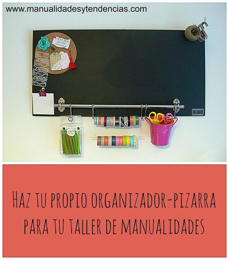 organizador taller de #manualidades / #Craftroom organization www.manualidadesytendencias.com #organización #taller #crafts #blackboard #pizarra