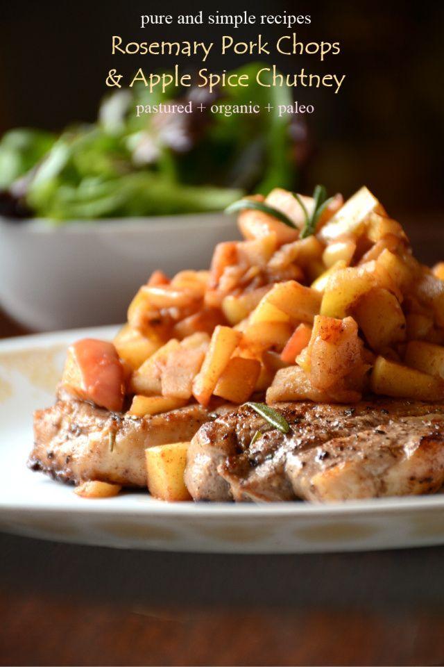 Rosemary Pork Chops + Apple Chutney #paleo