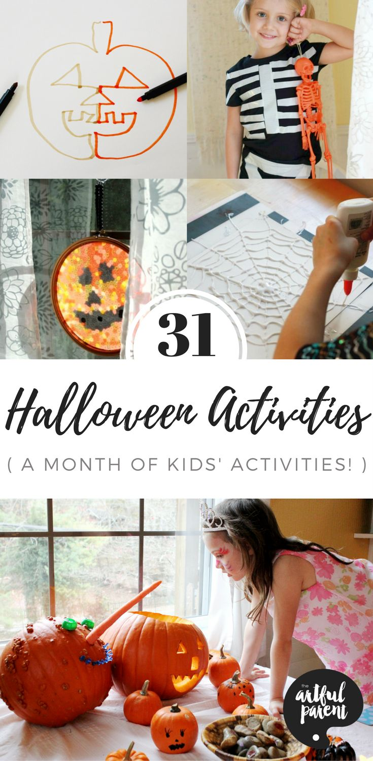 A list of 31 Halloween activities for kids (with free printable!) that includes Halloween crafts, art activities, decorations, book suggestions, recipes, costumes, and more!