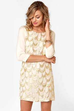 Pretty Embroidered Dress - Silk Dress - Cream Dress - Metallic Dress - $59.00