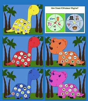 Rijmen:   How Does A Dinosaur Rhyme? Rhyming Activities and Games >> CCSS.ELA-Literacy.RF.K.2a Recognize and produce rhyming words