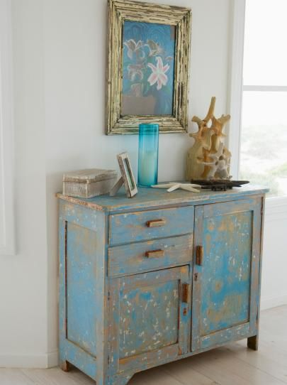 Antique Distressed Blue Chest and Art in Distressed Frame