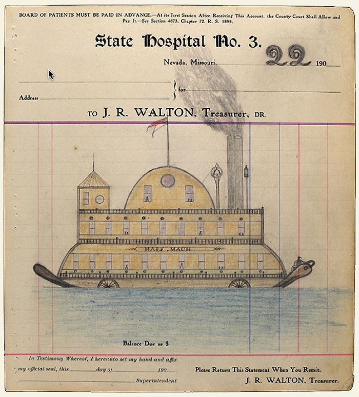 The unknown artist was a patient at State Lunatic Asylum in Nevada Missouri around 1910