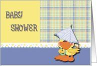 Baby Shower Duck Umbrella Card by Greeting Card Universe. $3.00. 5 x 7 inch premium quality folded paper greeting card. Baby Shower invitations to celebrate any upcoming event are available at Greeting Card Universe. Send a custom invitation to your friends and family. Send a Baby Shower invitation from Greeting Card Universe this year. This paper card includes the following themes: baby shower, party, and invitation. Set your Baby Shower invitations apart this yea...
