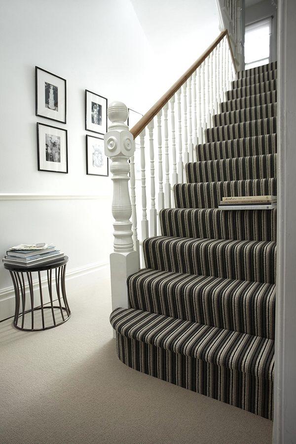 Stripy monochrome stairs at Michael John Flooring.